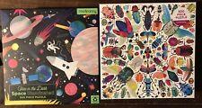"Lot Of 2 Mudpuppy ""Space Illuminated"" ""Kaleido-Beetles"" 500 Piece Puzzles"