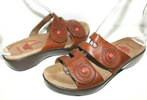 ❤️DANSKO Dixie Cognac Leather Dress Slide Platform Sandal 38 7.5 GREAT! L@@K!f