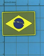 PVC BRAZIL Brasil FLAG rubber PATCH POLICE BLACK OPS ARMY Paintball Uniform Badg