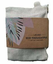 Eco Makeup Brushes x 4 Face Make Up Cosmetic Brushes Plus Zipped Jute Cotton Bag