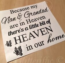 NAN & GRANDAD IN HEAVEN IN OUR HOME VINYL DECAL STICKER FOR IKEA RIBBA BOXFRAME