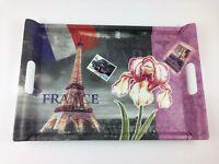 "Eiffel Tower Paris Melamine Serving Tray Kitchen French Flag 17"" Large Handles"