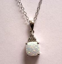 925 sterling silver opal white sapphire pendant slide 1.9g ladies estate womens
