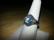 Reduced 2.65 Genuine Blue Topaz cushion solitaire ring in .925 SS - sizes 6 or 8