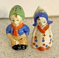 Vintage Porcelain Salt & Pepper Shaker Set Little Dutch Boy & Girl Made in Japan