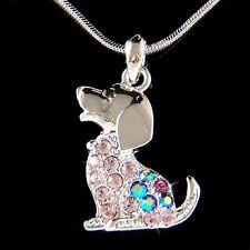 w Swarovski Crystal Purple BEAGLE puppy DOG pet charm Pendant Chain Necklace New