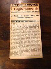 PIETRO ARETINO I RAGIONAMENTI SAMPIETRO EDITORE 1965