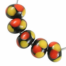 Trez Handmade Glass Lampwork Beads (Set of 10; Small Hole 1.5mm) Rondelle 010