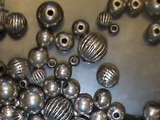 Large lot of 450 Silver Beads Fluted Rondells Rounds Mix Shapes & Sizes