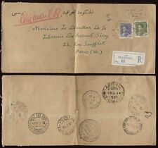 IRAQ REGISTERED 1936 COVER..via GREECE ITALY 2 TPOs to FRANCE..Part Airmail ?
