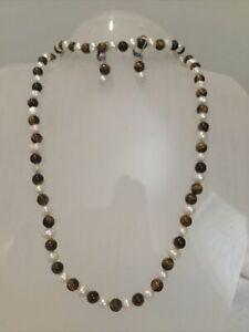 """3pc Tigers Eye/Freshwater Pearl Necklace 18"""" Bracelet 8"""" Earrings  New"""