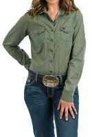 Cinch Women's Green & Navy Printed Snap Up Western Shirt MSW9200036