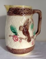 Antique Majolica Milk Pitcher With Bird on a Flowering Branch