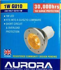 5 x Genuine Aurora GU10 Decorative LED bulbs 1w ORANGE LED 30,000hrs(D4)