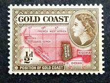 British Gold Coast 1952-54 Queen Elizabeth II 1/2d Map Of West Africa - 1v MLH#1