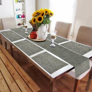 AntiSlip&Washable 6 Placemats+1Runner Of PVC For 6Seater DiningTable-Grey Colour