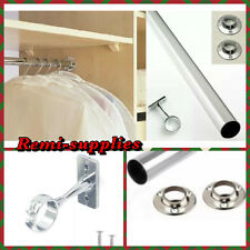WARDROBE RAIL 25.5MM THICK POLE 90CM LONG HANGING CLOTHES CHROME TUBE WITH ENDS.