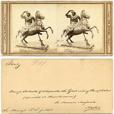 Stereoview (1), Italy, Napoli (Naples), statuary (statue), by RIVE