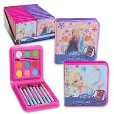 Disney Frozen Elsa & Anna 18 Piece Art Set-8 Crayons,9 Watercolors,&1 brush-New!
