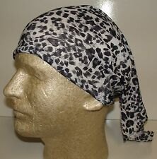 black leopard spots chemo therapy hair loss head wrap cover turban scarf wig