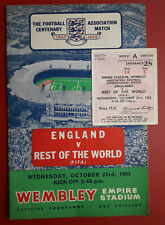 More details for 1963 england v rest of the world football programme and ticket stub