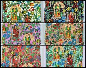 Indian Cotton Twin & Queen Size Kantha Quilt Handmade Florals Blanket Bedspreads