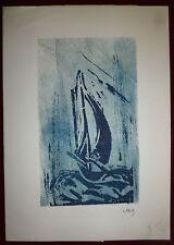 JAB gravure originale signée numérotée artiste graveur bateau marin marine mer