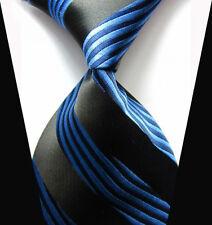 Hot! Black&Blue Striped Tie WOVEN JACQUARD Silk Men's Suits Ties Necktie NT134