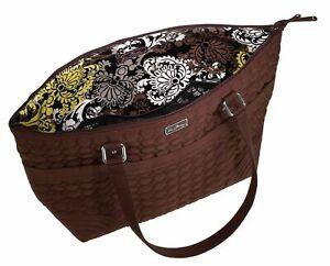Vera Bradley Diaper Baby Bag in Espresso Brown Microfiber