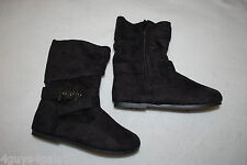 Girls BLACK FASHION SLOUCH BOOTS Adj Buckle FAUX SUEDE Flat Heel ZIPPER Size 11