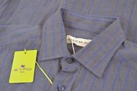 NWT ETRO Shirt Size 39 Made in Italy Blue Gray Stripe Dress Casual New