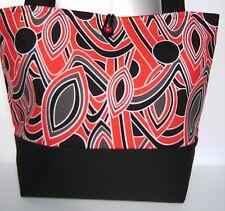 BLACK RED GRAY WHT ABSTRACT HANDBAG PURSE TOTE BAG POCKETBOOK RETRO MOD FASHION