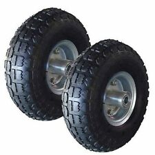 "2 x REPLACEMENT TYRES 10"" PNEUMATIC TROLLEY WHEEL BARROW CART TRUCK SACK BLACK"