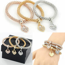 3pcs/set Fashion Bracelet Jewelry Love Heart Rhinestone Bangle Women Charm Gift