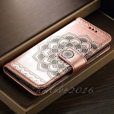 Mandala Embossed Leather Flip Stand Card Wallet Case Cover for Samsung phones