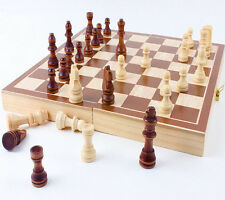 New 30*30cm Standard Game Vintage Wooden Chess Set Foldable Board Great Gift