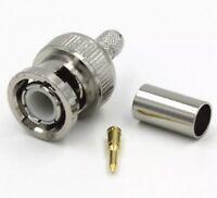 BNC Male Plug Crimp RG58 RG142 RG400 RFC195 RF Connector Fast USA