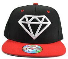 Diamond Black Hat Red  Brim White Embroidered Snapback Hat Adjustable Strap