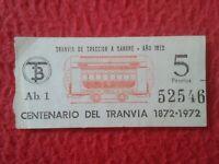 BILLETE DE TRANSPORTE CENTENARIO DEL TRANVÍA 1872 1972 TRANVÍAS DE BARCELONA ?..