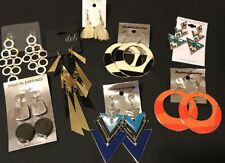 Womens Fashion Art Deco Dangle Earrings Orange Blue Black Gold 8 Pairs Set #56