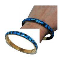 Bracelet jonc ethnique laiton couleur or os de bovin bleu bijou