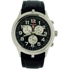 Swiss Military Mens Hanowa Chronograph Black Leather Strap Watch 6-4004.7.04.007