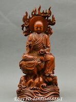 Collect Chinese boxwood Hand carved Buddhist monk Buddha sit crosslegged statue