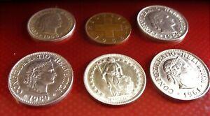 6 Vintage Swiss Coins- 1/2 Franc Helvetia Confederation & assorted Rappens