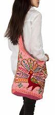 Peacock Handmade Pink Cotton Hobo Crossbody Shoulder Bag Hipster Sling Shopping