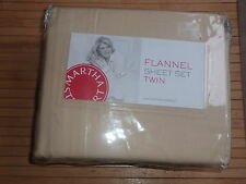 MARTHA STEWART TAUPE SOLID FLANNEL TWIN  SHEET SET  NEW