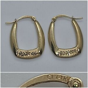 14k Yellow Gold Detailed Small Hoop Earrings - 1.3g