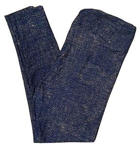 TC LuLaRoe Tall /& Curvy Leggings Denim Print Heathered Blue Yellow NWT C83