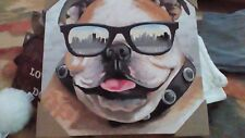 """Bulldog with sunglasses Wrapped Canvas 16x 16"""" hand painted exclusive art New"""