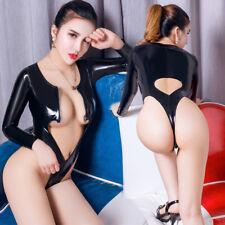 Women PVC Wet Look Catsuit Hollow Leotard Thong Bodysuit Zipper Clubwear Costume